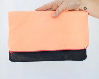 Neon Orange and Brown Leather Foldover Clutch
