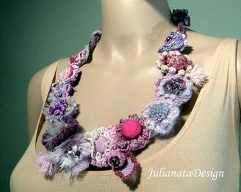 Sale - STYLISH FEMININE NECKLACE - Wearable Fiber Art Jewelry, Freeform Crocheted Embellishments, Adjustable Length