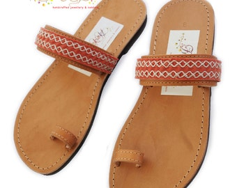 Handmade Boho Leather Sandals (with a secret)_Peach Suede Lace