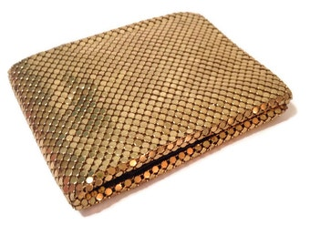 whiting davis Mesh gold wallet 1950's hollywood regency
