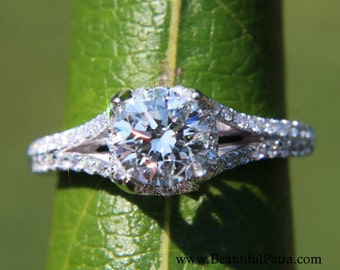 PLATINUM - Diamond Engagement Ring Semi Mount Setting - .50 carat  Round - Split Shank-  Halo - Pave - Antique Style - Item# Bp001