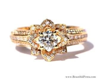 UNIQUE Flower Rose Diamond Engagement or Right Hand Ring - 2.25 carat - 14K yellow gold - 14k White gold - 14K rose gold- wedding - fL01YG