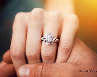 PLATINUM Unique Flower Rose Diamond Engagement or Right Hand Ring - 2.25 carat - wedding - brides - fL01