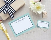 Personalized Boxed Stationery Set | Japanese Ocean Wave Pattern | Custom Colors