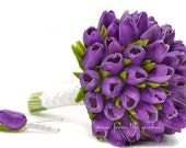 Royal Purple Real Touch Tulips Bridal Bouquet Groom's Boutonniere Tulip Wedding Flower Package Silk Artificial Choose Your Colors