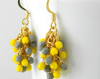 Gold Cascade Earrings in Yellow and Gray, Yellow and Grey