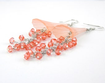 Coral Floral Dangle Earrings with Lucite Trumpet Flower