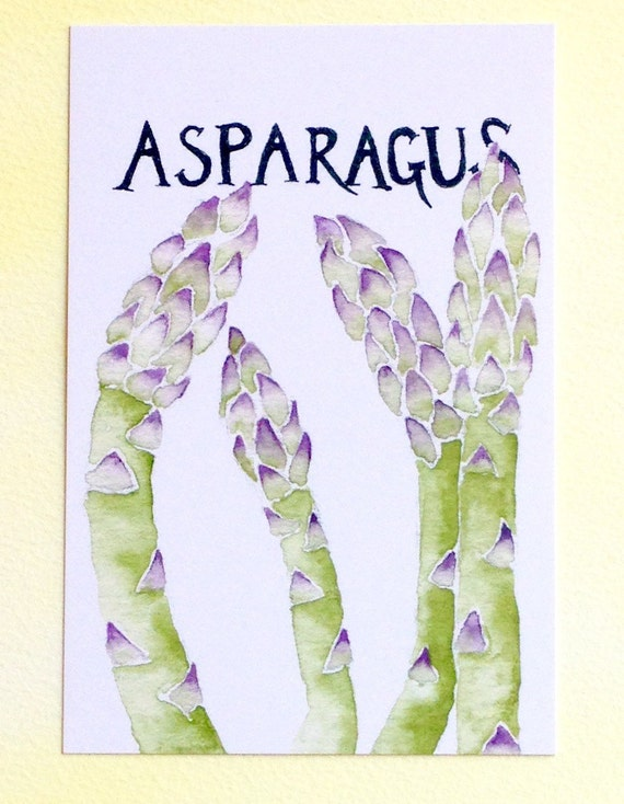 Three Asparagus Postcards, gardening quotation on back, 4 in x 6 in, silky smooth card stock, foodie gardener gift