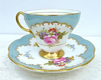 Vintage Foley Rose Floral Tea Cup and Saucer