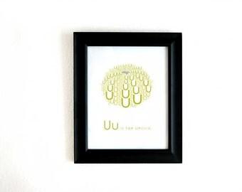 Digital Alphabet Art Print, U is for Urchin 8x10 Inch