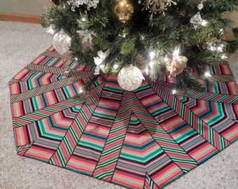 LARGE Octagon Multi Stripe Peppermint Christmas Tree Skirt IN STOCK