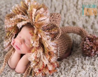 PATTERN Jungle Lion Hat and Diaper Cover Set Crochet PDF Pattern for 3 sizes