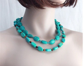 Turquoise Necklace - Genuine  Beaded Necklace - Chunky Turquoise Set of two Necklaces - Beadead Double Necklace Set - Boho Turquoise Jewelry