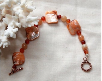 Shell Bracele  Carnelian Bracelet,  Jewelry,   Handpainted Mother  of Pearl Shell Bead,   Natural Carnelian Beaded Bracelet
