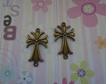 10pcs antique bronze cross findings 40x22mm