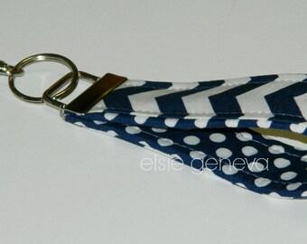 Ready to Ship Navy Blue White Dots Key Fob Chain Wristlet Stripes Zig Zag Key Chain
