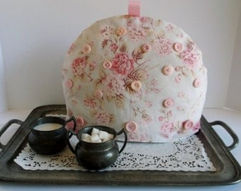 ON SALE!!  Sweet Pink Floral Tea Cozy with Pink Buttons  Was 30.00