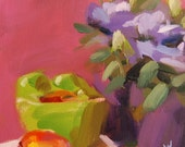 Bowl of Fruit and Lisianthus original still life floral oil painting by Angela Moulton 10 x 10 inch on canvas prattcreekart