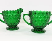 Anchor Hocking Forest Green Bubble Sugar and Creamer Set EUC