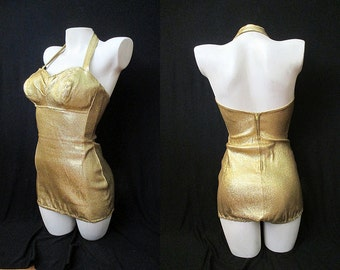 """Out of this World 1950's Gold Lame Beauty Queen Bathing Suit Pinup Girl Swimsuit by """"Monterey"""" Playsuit Rockabilly VLV Pool Party Size-Small"""