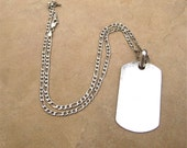 Sterling ID Pendant Necklace Silver ID Tag on Sterling Figaro Chain On SALE