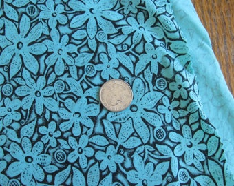 """Vintage 34"""" Wide Print Fabric All Cotton Black on Turquoise - Sold by 1/2 Yard"""