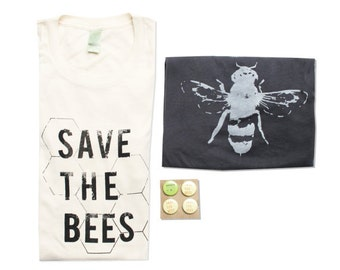 Mens Bee Shirt Gift Bundle, Save The Bees - Small, Medium, Large, XL - Organic Cotton - Eco-Friendly Gift Bundle, Bee shirts, Honey Bee Tees