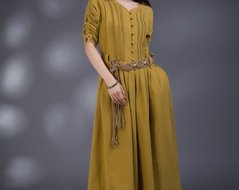 Loose Fitting Sundress Long Sleeve SunDress in Yellow(more colour and size choice)