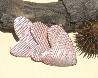 Lopsided Heart Woodgrain-Horizontal Pattern Blank 27mm x 30mm Cutout for Enameling Stamping Texturing