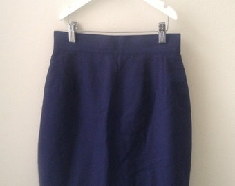 80s 90s Navy Blue High Waisted Pencil Skirt XS S