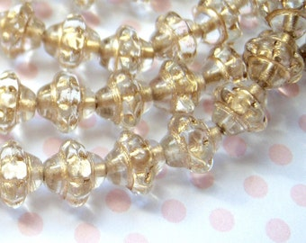 Czech crystal and gold 8mm antiqued carved saucer saturn bead lot of (25) - BC77