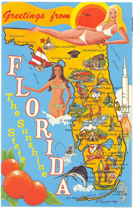 Vintage Florida Postcard Sunshine State Map by savannahsmiles4u – Florida Tourist Attractions Map