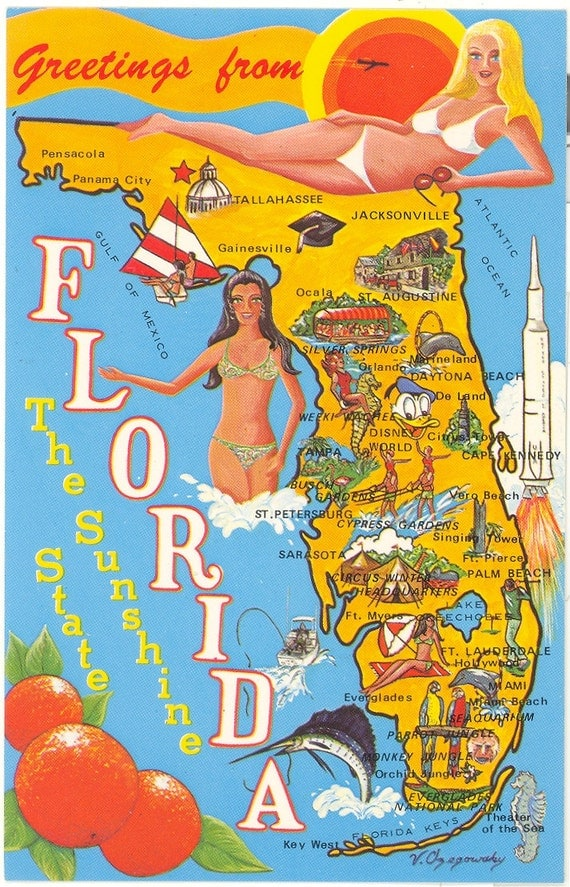 Vintage Florida Postcard Sunshine State Map by savannahsmiles4u – Map Of Florida Tourist Attractions