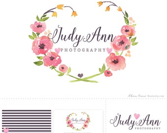 Watercolor Logo Design with Business Card Design and Watermark - Wreath Heart Tulip Flowers Ranunculus Peony Botanical Layered PSD Photoshop