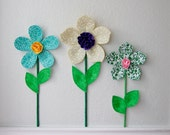 flower wall decal, girls room, nursery decor, wall flowers, 3d art. wall decor. fabric wall flower. green fabric flower. baby shower gift.