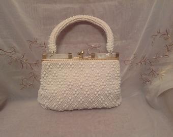 Vintage Cream Color Lucite Frame Summer Fun Beaded Delicate Style Fashion Wear Handbag