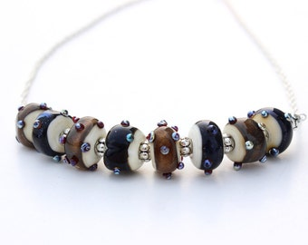 Blue and Gold Lampwork Glass Necklace