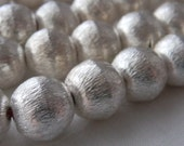 Brushed Satin Sterling Silver plated copper beads 10mm for jewelry making or crafts