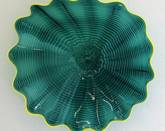 Beautiful Hand Blown Glass Art Wall Platter Bowl 5640 ONEIL