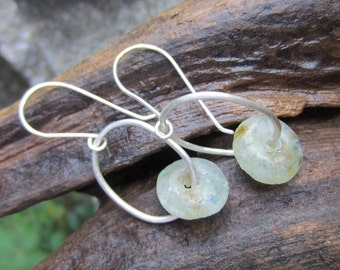 Reclaimed African Glass and Sterling Silver Dangle Earrings