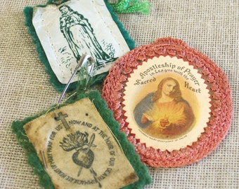 Scapular , Collection , Religious , Religion , Religious Artifact , Religious Affect , Church , Sacred Heart , Tag , Crocheted , Paper