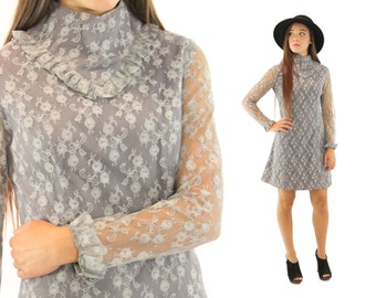 Vintage 70s Lace Dress Long Sleeve Dress Gray Dress Young Edwardian Arpeja Dress 1970s Hippie Dress Bohemian Dress Small S XS
