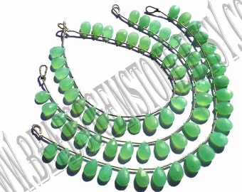 Chrysoprase Faceted Pear (Quality A+) / 7x10 to 7.5x10.5 mm /  9 to 11 Grms /18 cm / CHR-020