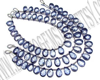 Tanzanite Coated Quartz Faceted Pear (Quality AA+) / 6.5x9.5 to 7x10.5 mm / 8 to 10 Grms / 18 cm / TA-006