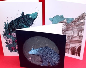 Bear greeting cards pack of three