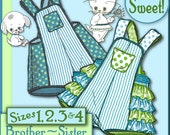 SUNSUIT Darling Kitty RUFFLED ROMPER Sister and matching Brother Puppy Sunsuit Vintage 1940 Shorts epattern pdf pattern download