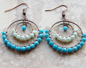 Wire wrapped beaded hoops, turquoise and light aqua blue, chandelier statement earrings, gypsy hoop earrings