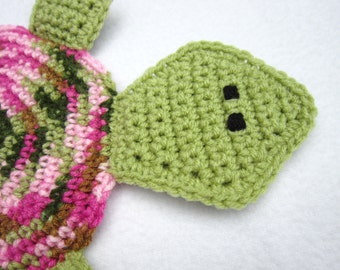 Tortoise Pot Holder, Turtle Hot Pad, Tortoise Trivet, Pink and Green Turtle, Crochet Turtle, Mothers Day Gift, Small Rug Mug