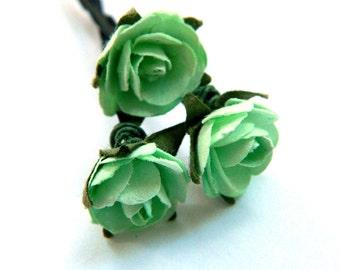 Mint Bridal Rose Hair Pins (Rosie Posie design)(3 hair pins) romantic pastel Rose Flower Rose Bobby Pins,Hair Clips for Wedding Hair updos
