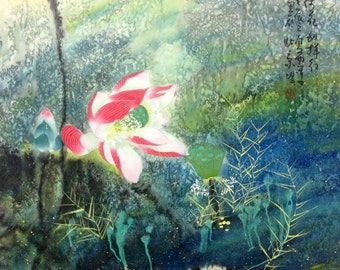 chinese painting Lotus painting original painting abstract painting oriental art floral painting flower painting